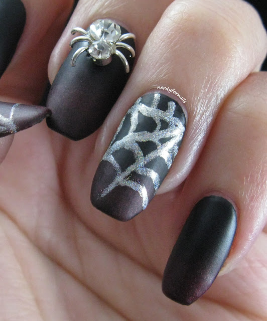 Black and Red Vampy Velvet Gradient with Spiderwebs and Rhinestone Spider