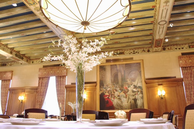 Detroit Athletic Club wedding reception elevated branch centerpiece by Sweet Pea Floral Design