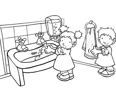 Desenhos lavar e secar as m os colorir e pintar qdb - Disegnare il bagno ...