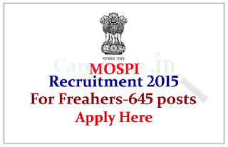 Ministry of Statistics & Programme Implementation Recruitment 2015 for the post of Field Investigators – 645 Posts