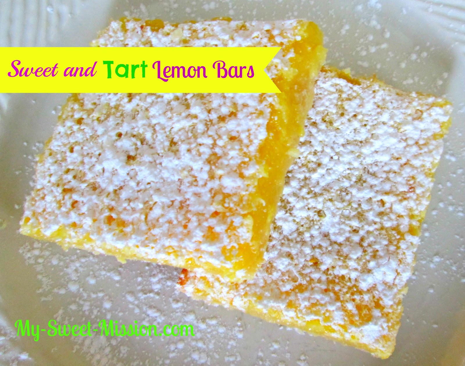 Sweet and Tart Lemon Bars by My Sweet Mission