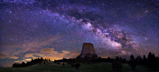 The Milky Way Galaxy over Devils Tower