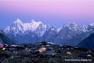 Concordia Base Camp, Pakistan.This is the view from Concordia towards the valley of the Baltoro Glacier at dawn. On the left [Paiju peaks], middle ,[Trango towers] & on the right [Grand Cathedra].