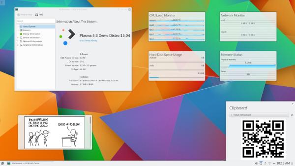 Ambiente de trabalho do Kubuntu 15.10 Alpha 1