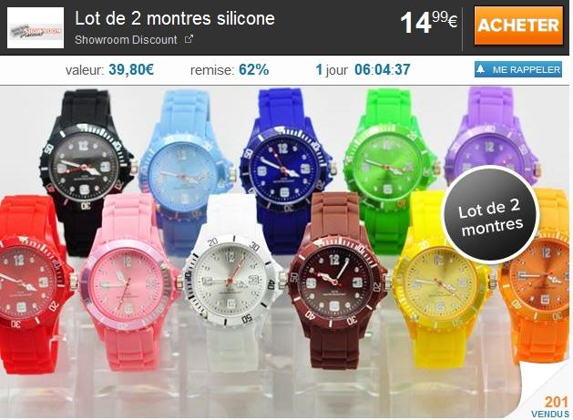 Lot de 2 montres unisexes, tendance cet été à 14.99€ au lieu de 39.80€  bon plan montre pas cher bon plan montre à la mode