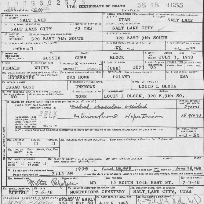 The Knowles Collection Utah State Death Certificates 1904 1960