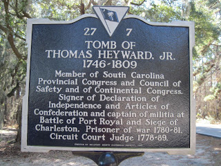 historical marker for Thomas Heyward, Jr.