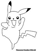 Gambar Pikachu Tertawa Gembira Untuk Diwarnai