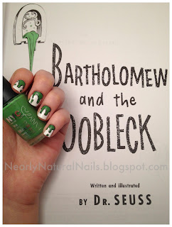 Bartholomew and the Oobleck by Dr. Suess, nail art, 31 Day Nail Challenge - Day 24: Inspired by a book, green and black paint spill nails