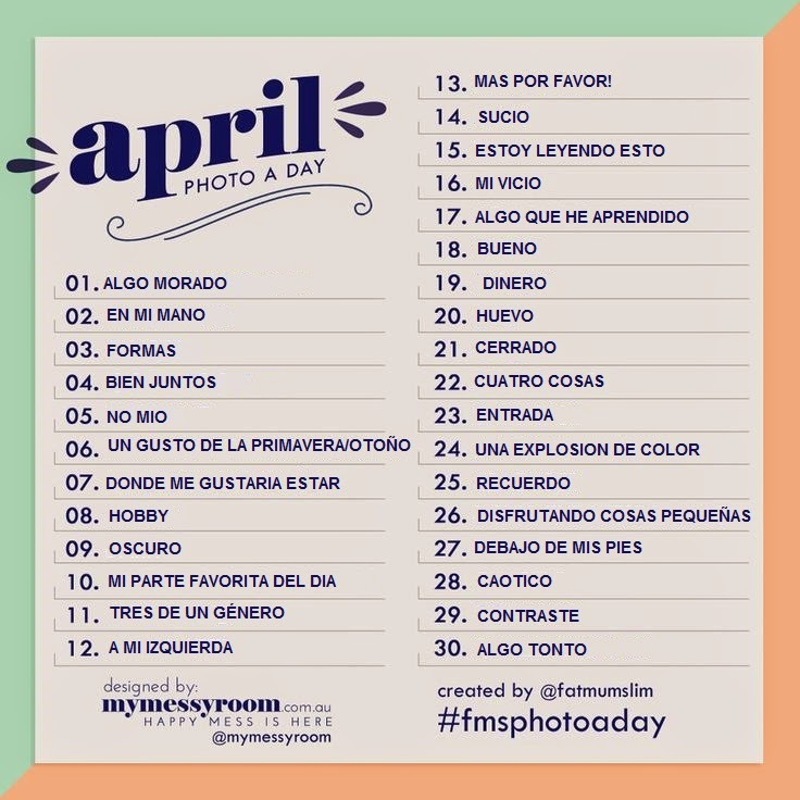 imagen y lista de foto al dia del mes de abril