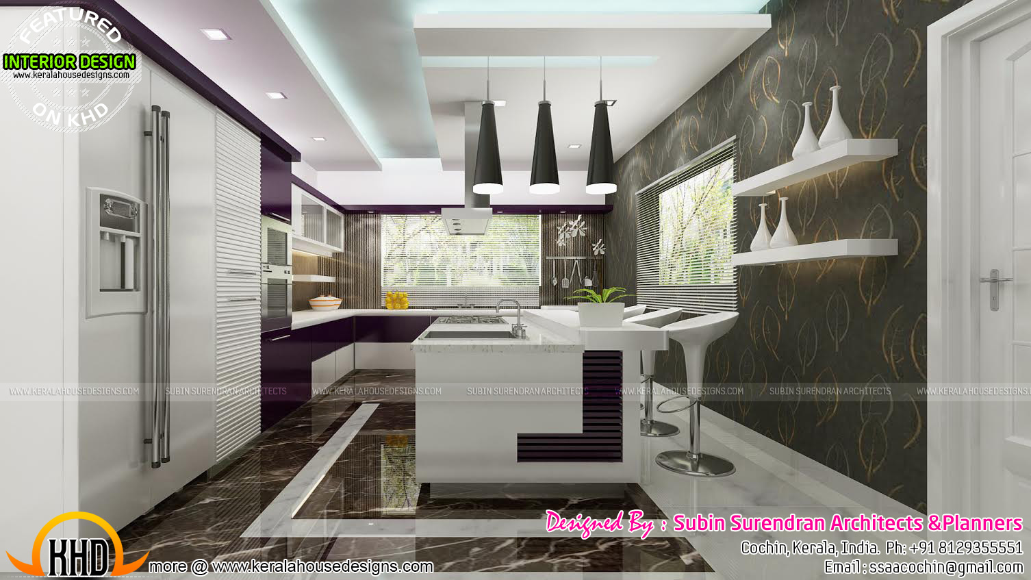 Living rooms modern kitchen interiors in kerala kerala for Modern kitchen designs in kerala
