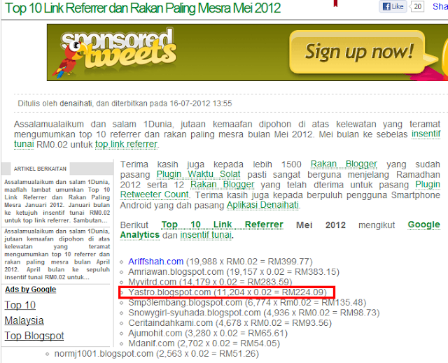 Duit Online - TOP TEN REFERRAL LINK DENAIHATI MEI 2012