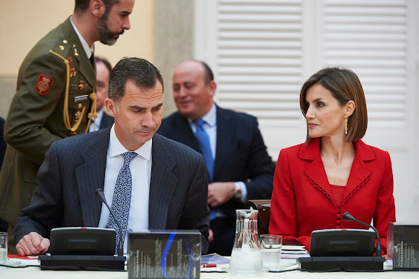 Queen Letizia of Spain and King Felipe VI of Spain attends the Cervantes Institute Annual Meeting at Royal Palace of El Pardo
