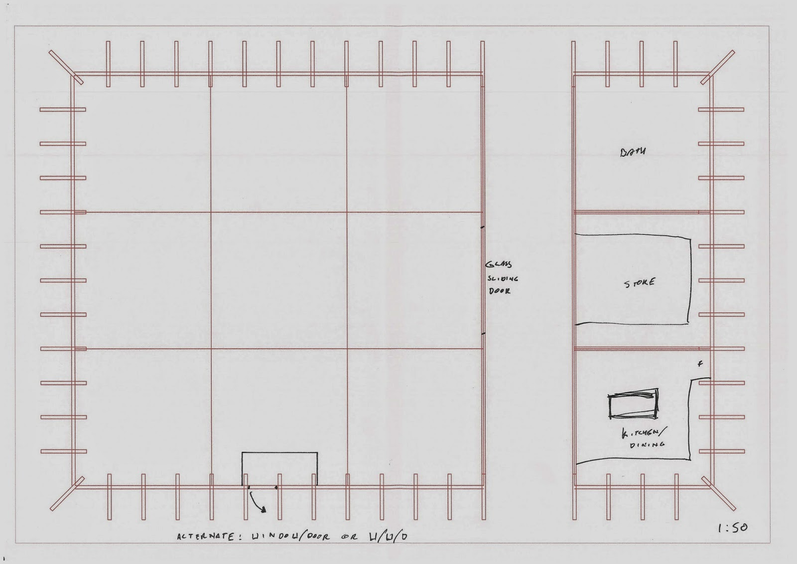 general plan outline possible arrangement for kitchen and storage space i intend to have the majority of wall panels openable with a ratio of 2 3 windows