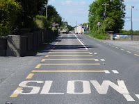 Go-slow road marking in Ireland