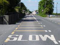 Go-slow road marking in Ireland