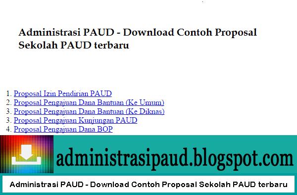 Administrasi PAUD - Download Contoh Proposal Sekolah PAUD terbaru