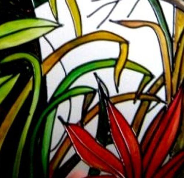 Tucanes - Falso vitral -Pintura sobre vidrio | Matisses Artesano