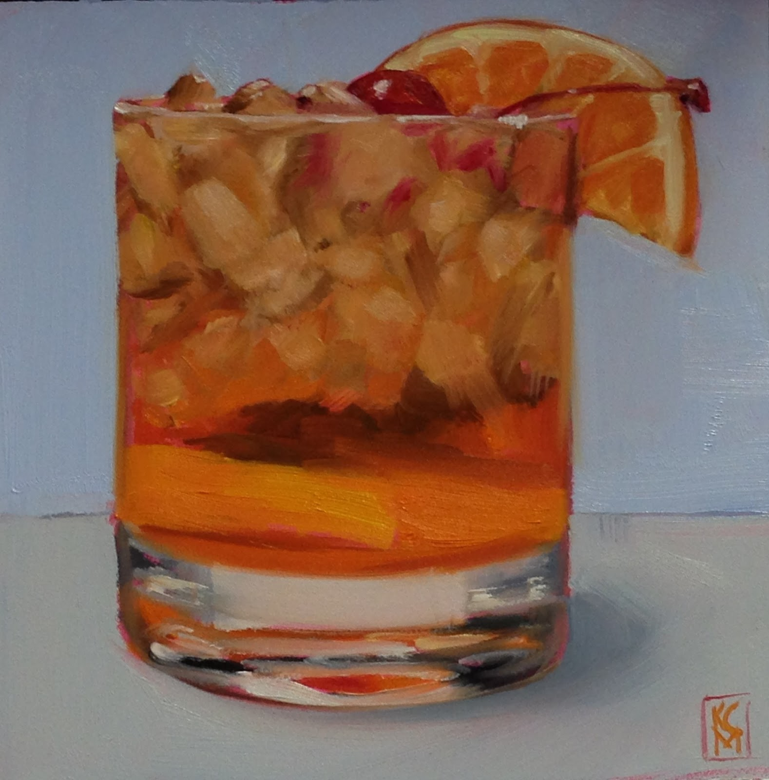 Kelley macdonald 39 s daily paintings old fashioned 6c6 for Paint and cocktails
