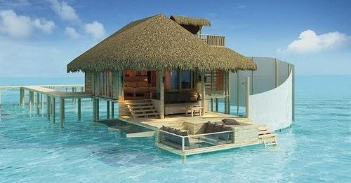 Strandhaus karibik  Die schönsten Strandhäuser: Kleines Strandhaus mitten im türkisen Meer