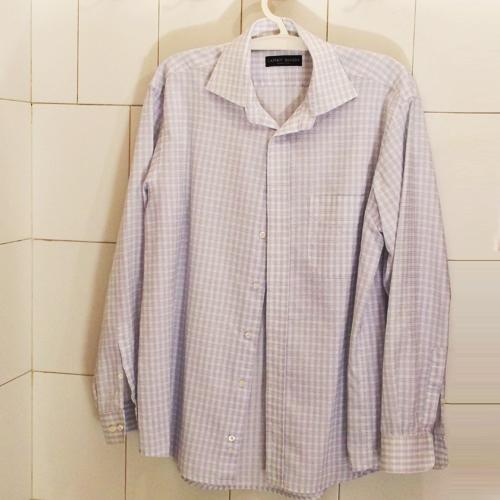 Fehér ing kék négyzetrácsos mintázattal - 100% pamut, vasaláskönnyített anyag