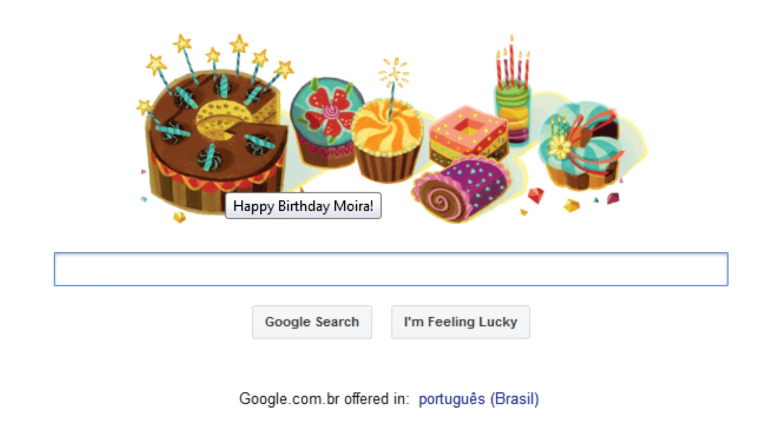 Google Comemorando Meu Aniversario