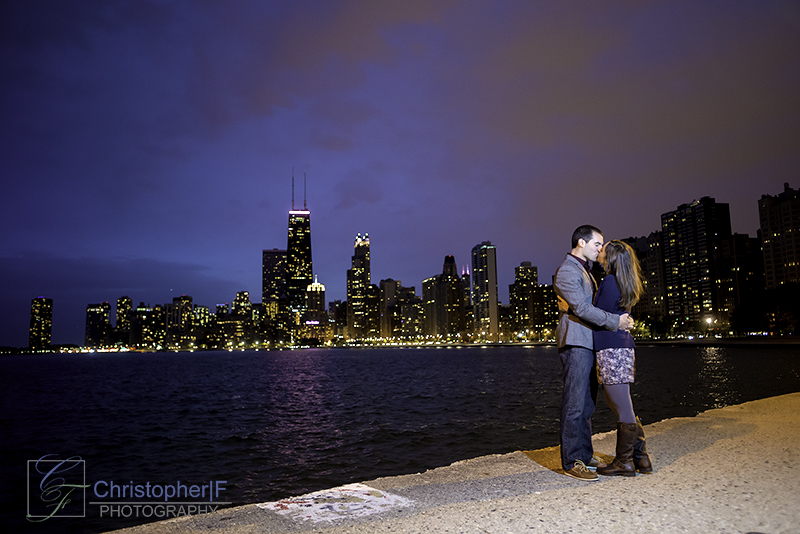 Chicago Night Engagement Photo