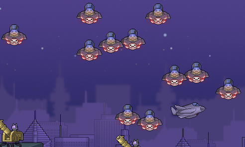 A cluster of aliens, floating above a sea of military troops in Save the Earth - The Incremental