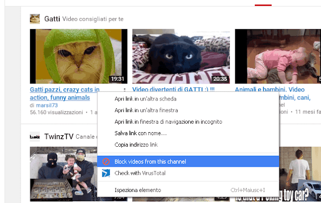 Bloccare canale YouTube con addon Video Blocker