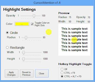 Fare işaretçisini renklendirme (sarı,kırmızı yuvarlak) mouse highlighter