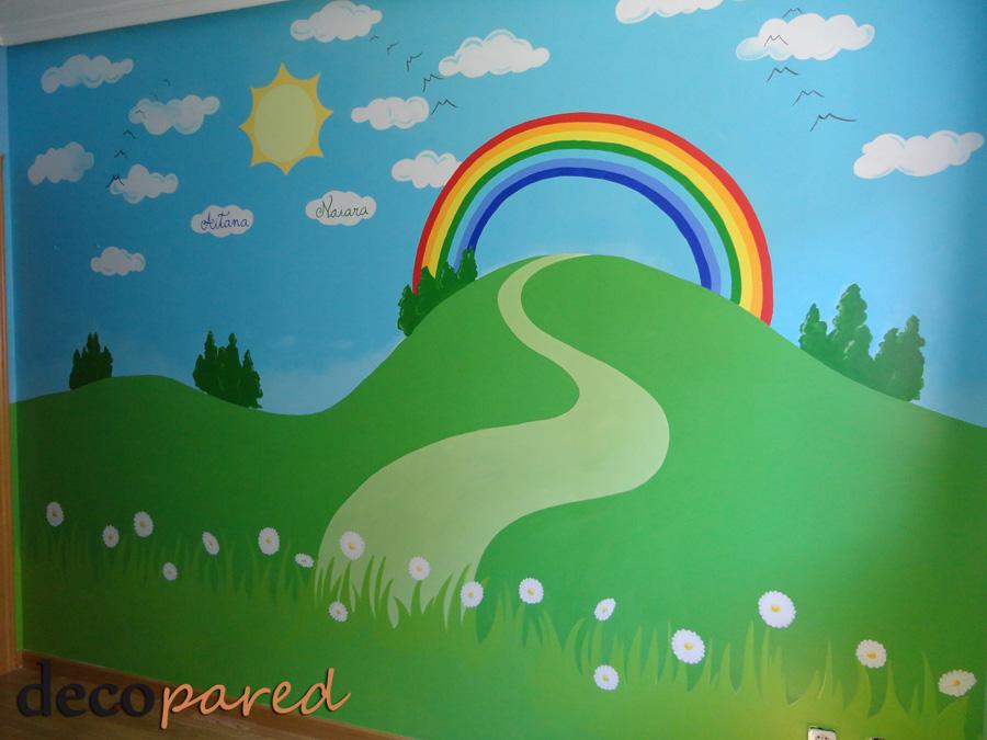Decopared paisaje primaveral para cuarto de juegos - Murales pintados en pared ...