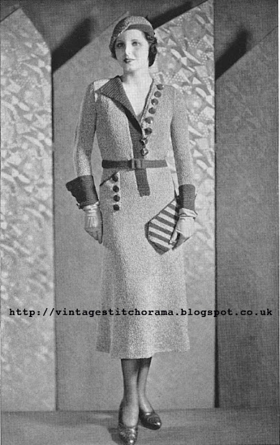 Free 1930's Knitting pattern for a One Piece Dress Hat & Purse