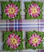 Crochet flower granny square pot holder