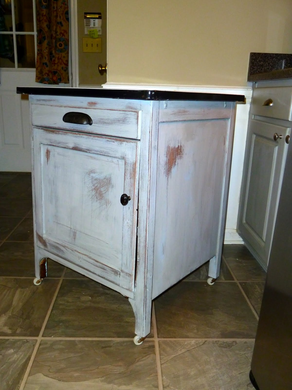 A few good pieces vintage enamel topped cabinet for White enamel kitchen cabinets