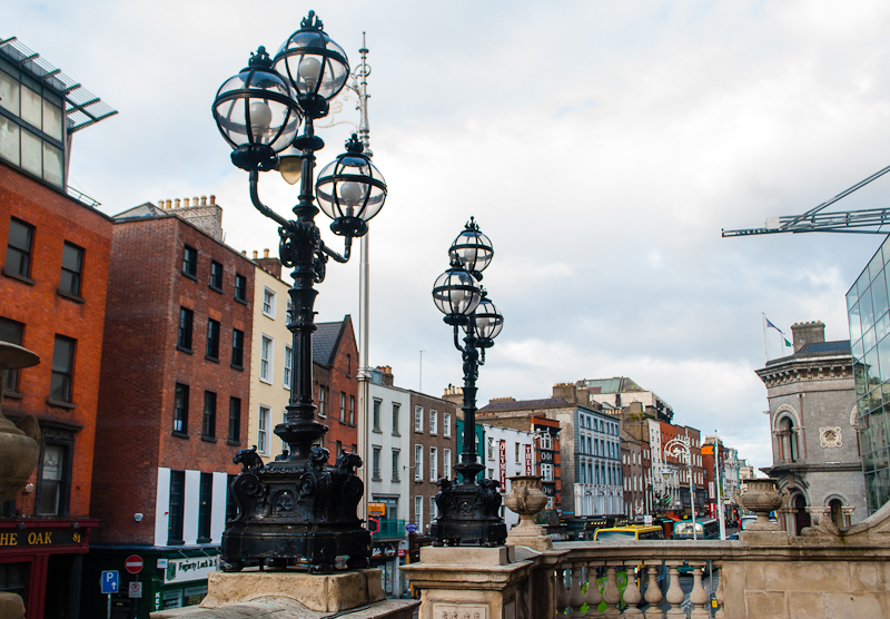 Perspective shot of the lamps and streets of Dublin Ireland