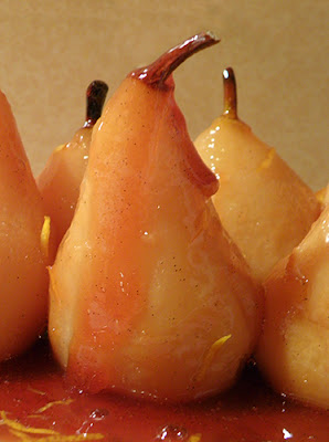 Whole Poached Pears on Platter