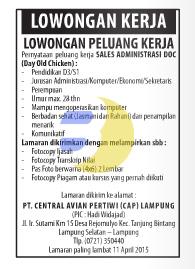 Lowongan Kerja PT. Central Avian Pertiwi (CAP) Lampung, Lowongan Kerja Jumat 27 Maret 2015 di Lampung