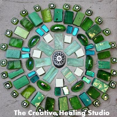 healing mosaic mandala vibrant green