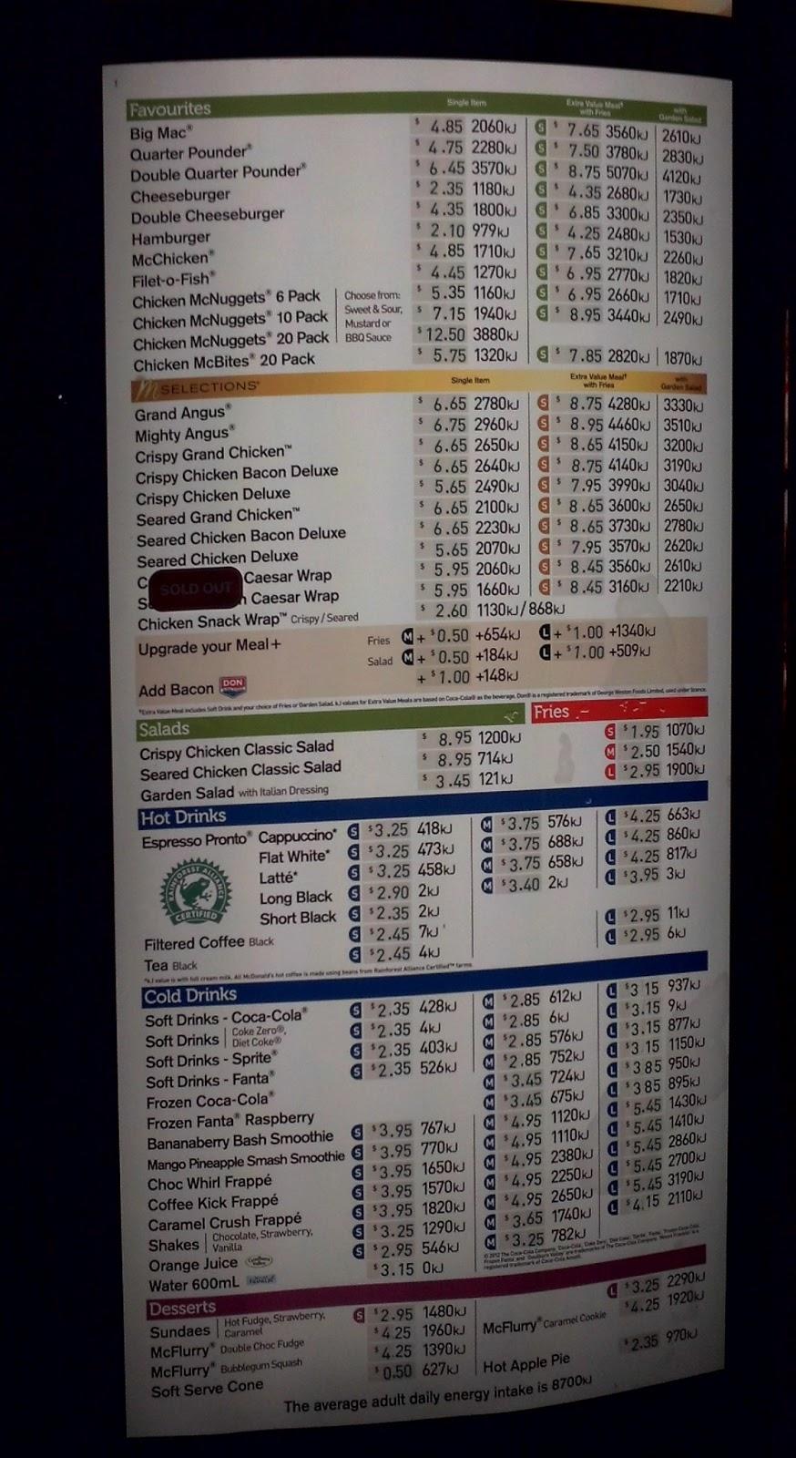 principle traveler: mcdonalds australia price list