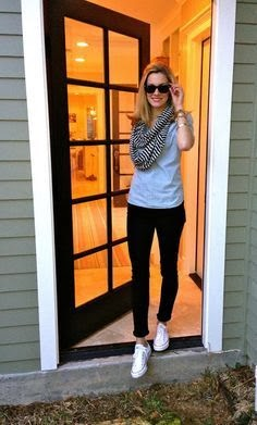Black Trousers,Shirt, Wonderful Scarf, Black Glasses,White Shoes - Amazing Style