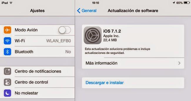 Actualización iOS 7.1.2