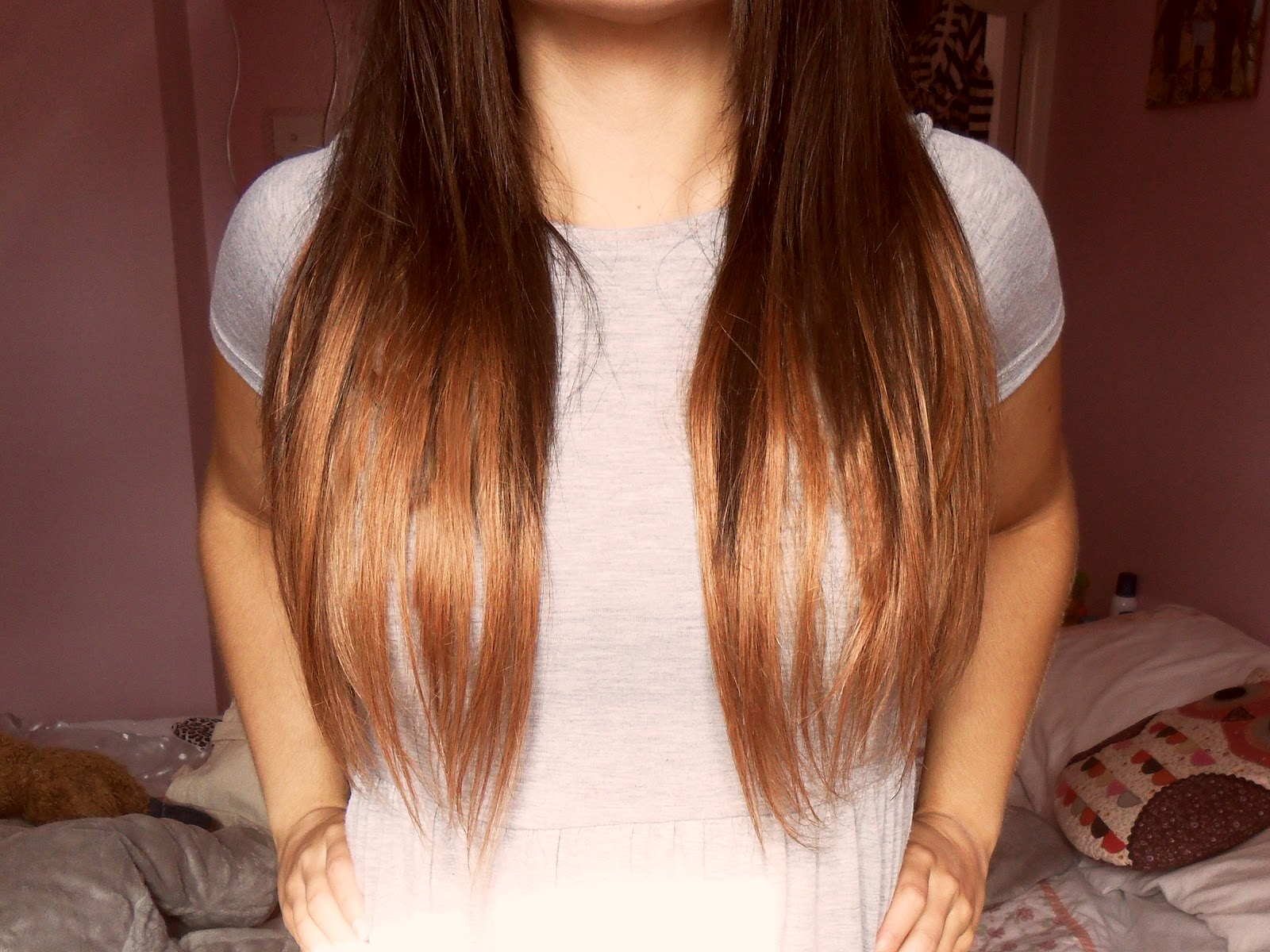 Brown hair with orange dip dye