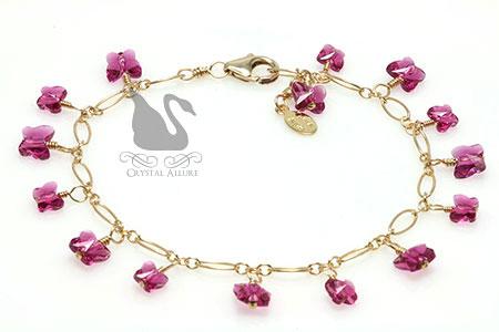 Charlene's Custom Crystal Butterfly Charm Bracelet (B091-II)