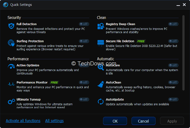Advanced SystemCare 6 - Quick Settings