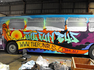 Sydney New South Wales fun bus painted with spray cans and brushes  with stu dobell Aedan Howlett Australia airbrush