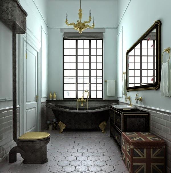 Bồn cầu, bồn tắm và tủ gỗ chậu rửa in vân mây độc đáo