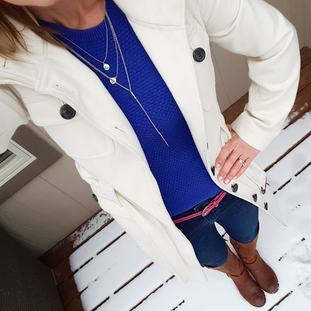 Gap Sweater // Esprit Coat (similar - 40% off!) // Joe's Jeans // Jessica Simpson Elmont Boots - only $33, regular $159!!! // ILY Couture Layered Necklace