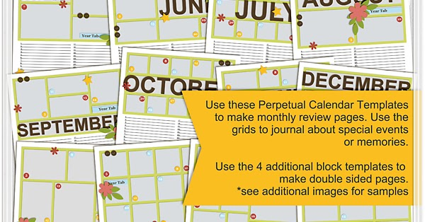 Scrapping With Liz: Perpetual Calendar 12X12 Page Templates