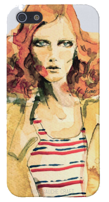 watercolor painting, fashion illustration  /  iphone case