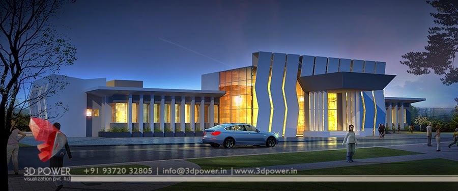 3d animation 3d rendering 3d walkthrough 3d interior for Office building exterior design
